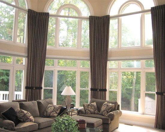 Two Story Family Room Design Ideas Pictures Remodel And Decor Traditional Family Room Large Window Treatments Spacious Living Room