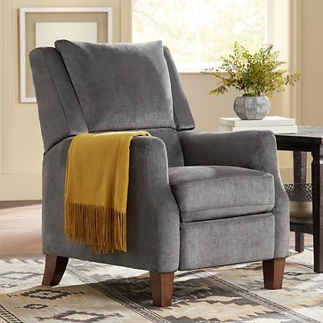 Fantastic Irina Gray Velvet Recliner Chair 1P146 Lamps Plus Pabps2019 Chair Design Images Pabps2019Com