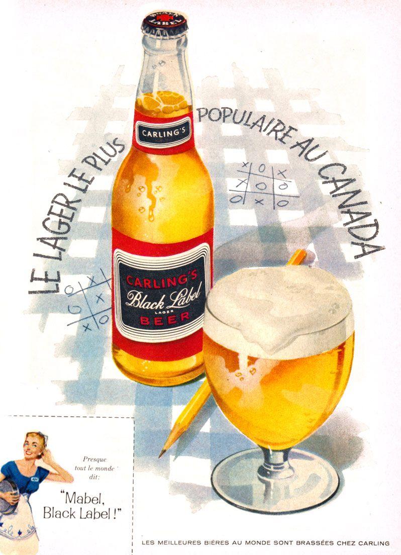 Carling's Black Label beer ad from 1948  | Beer | Beer label