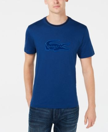 2181081a Lacoste Men's Crocodile Flocked Graphic T-Shirt, Created for Macy's - Blue  3XL