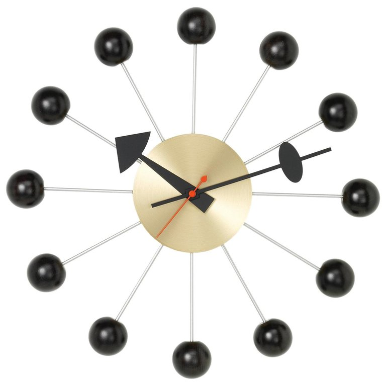 Vitra Ball Clock In Black And Brass By George Nelson Nelson Ball Clock George Nelson Wall Clock George Nelson