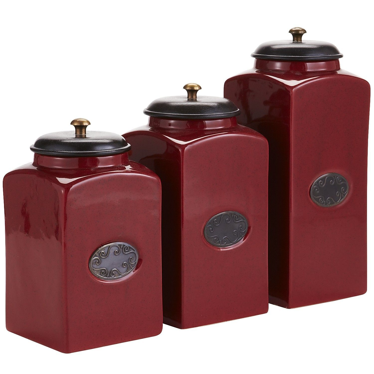 Red Ceramic Canisters from Pier 1 | New House | Pinterest