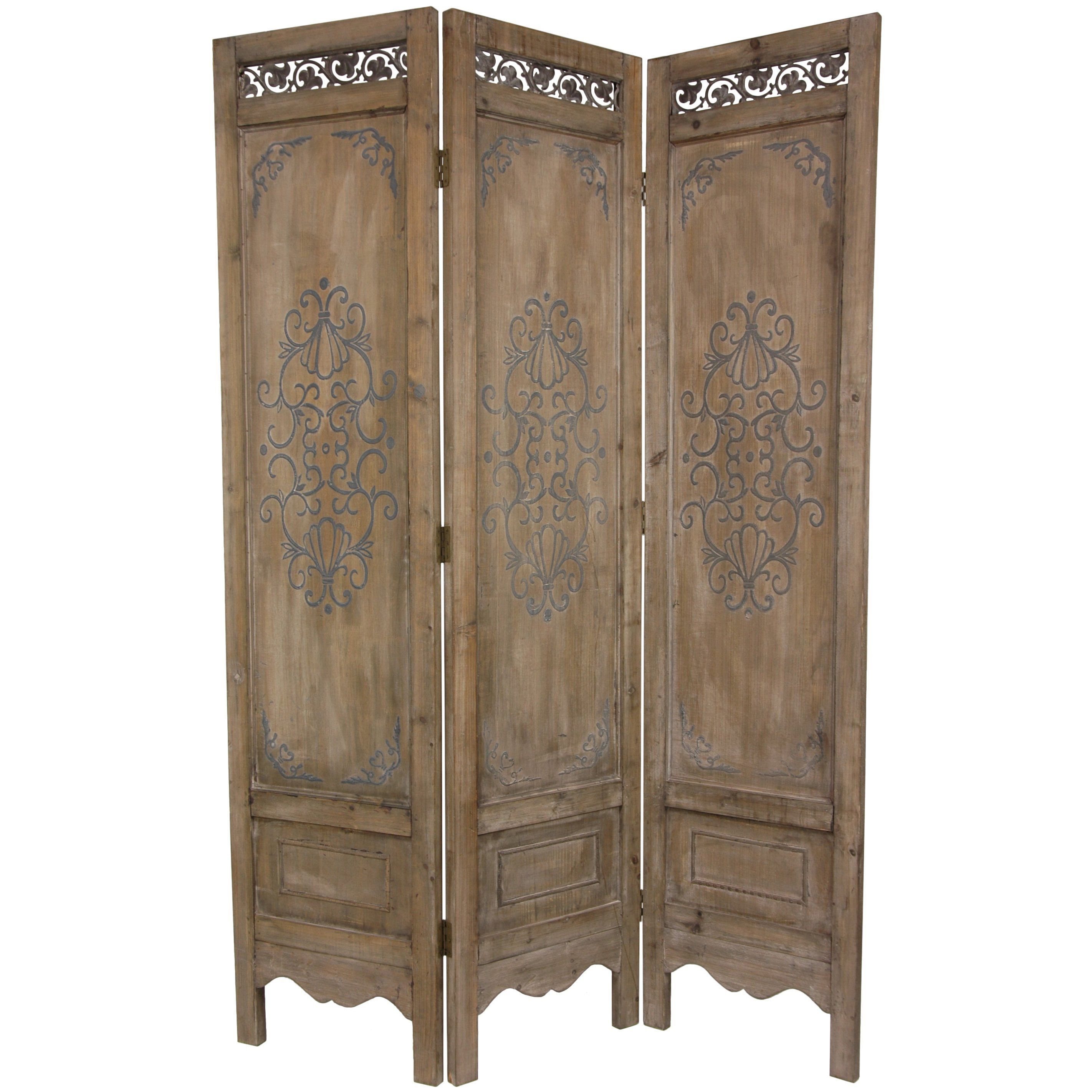 Hand crafted from kiln dried wood this room divider panel is hand detailed to create a sense of time and worn beauty this panel features a beautifully