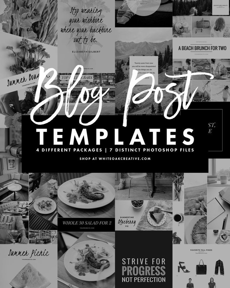 Photoshop Blog Post Templates For Blogging And Social Media, Seven  Different Templates, 4 Different Theme Packages, Blog Graphics, How To  Design Blu2026