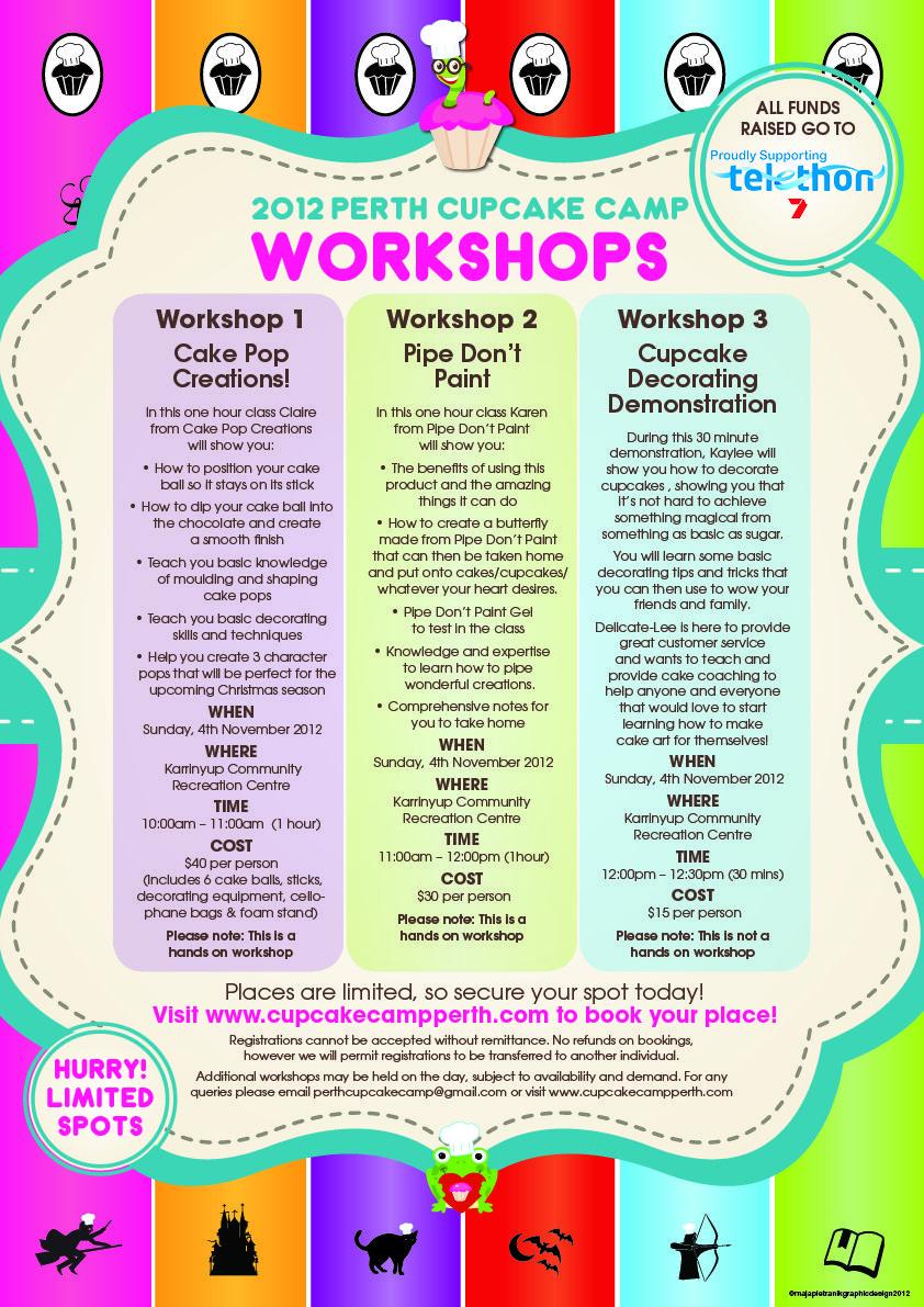 Workshops at this year's Cupcake Camp! Register here: http://www.perthcupcakecamp.com/#!workshops/c1j4k