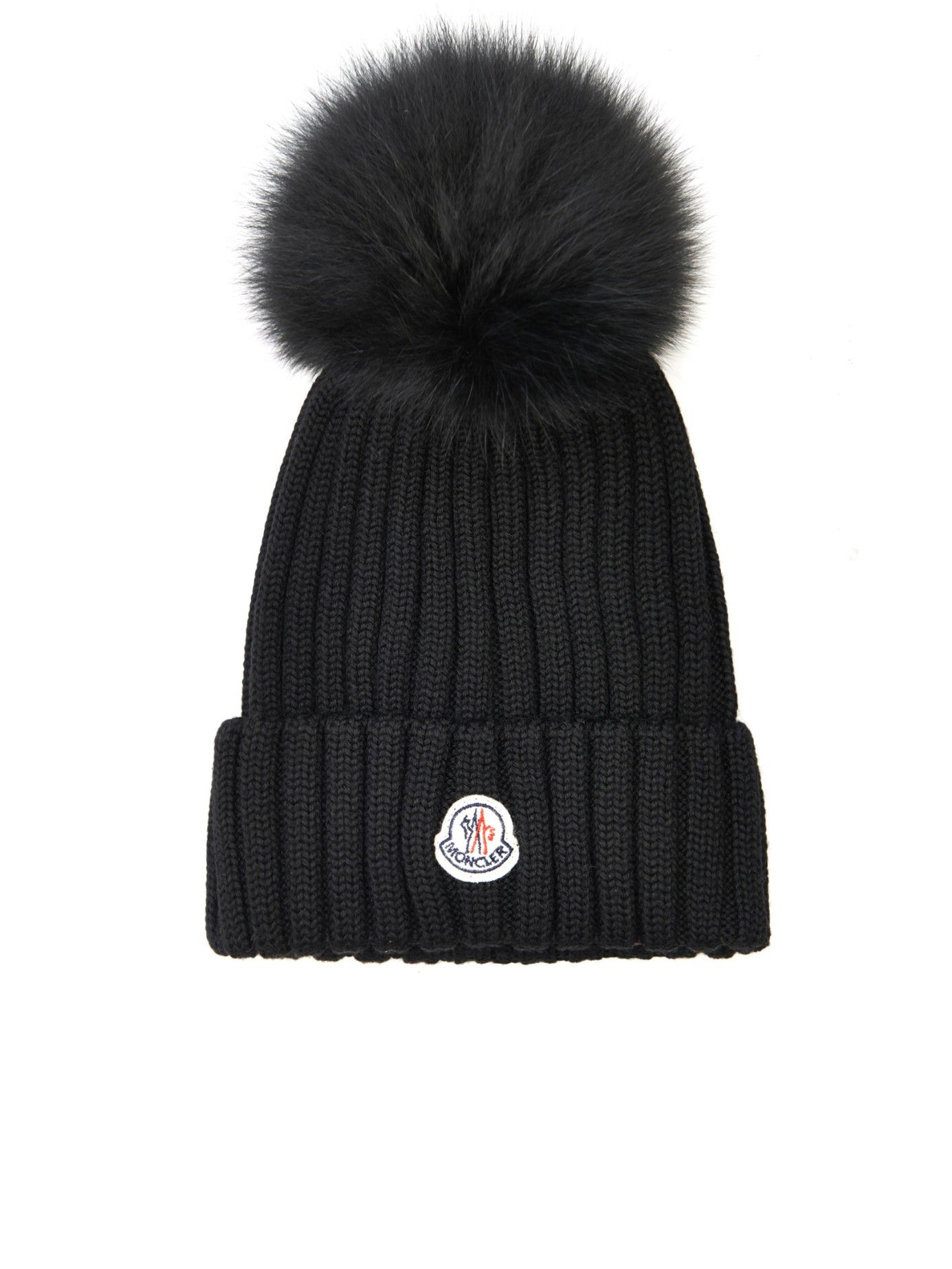 e1e15234117 Fox-fur pom-pom knitted hat