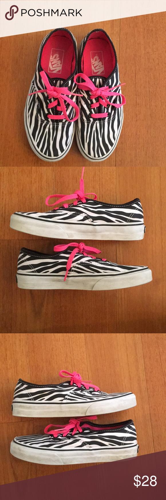 d3eab46321 Unique vans hot pink zebra print tennis shoes Zebra print vans tennis shoes.  Really cool with the hot pink insoles   laces! Sure to impress!
