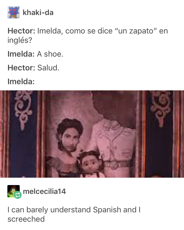 Hector Imelda How Do You Say Un Zapato In English Imelda A Shoe Hector Bless You Disney Memes Disney Funny Tumblr Funny