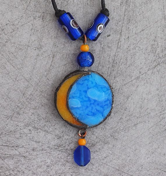 Blue moon stained glass pendant by lisacoffaro on etsy 2500 blue moon stained glass pendant by lisacoffaro on etsy 2500 aloadofball Images