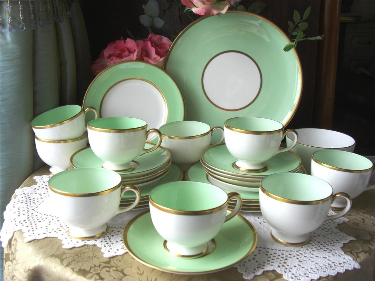 Wedgwood Art Deco China Tea Set Green
