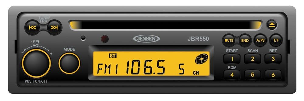 JENSEN Heavy Duty JBR550TB AM/FM/CD Stereo with Thomas