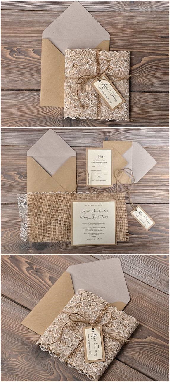 diy rustic wedding invitations burlap%0A Minus ALL of the burlap  Lol elegant papers with lined envelopes and  wrapped in lace  Find this Pin and more on Rustic Wedding Invitations