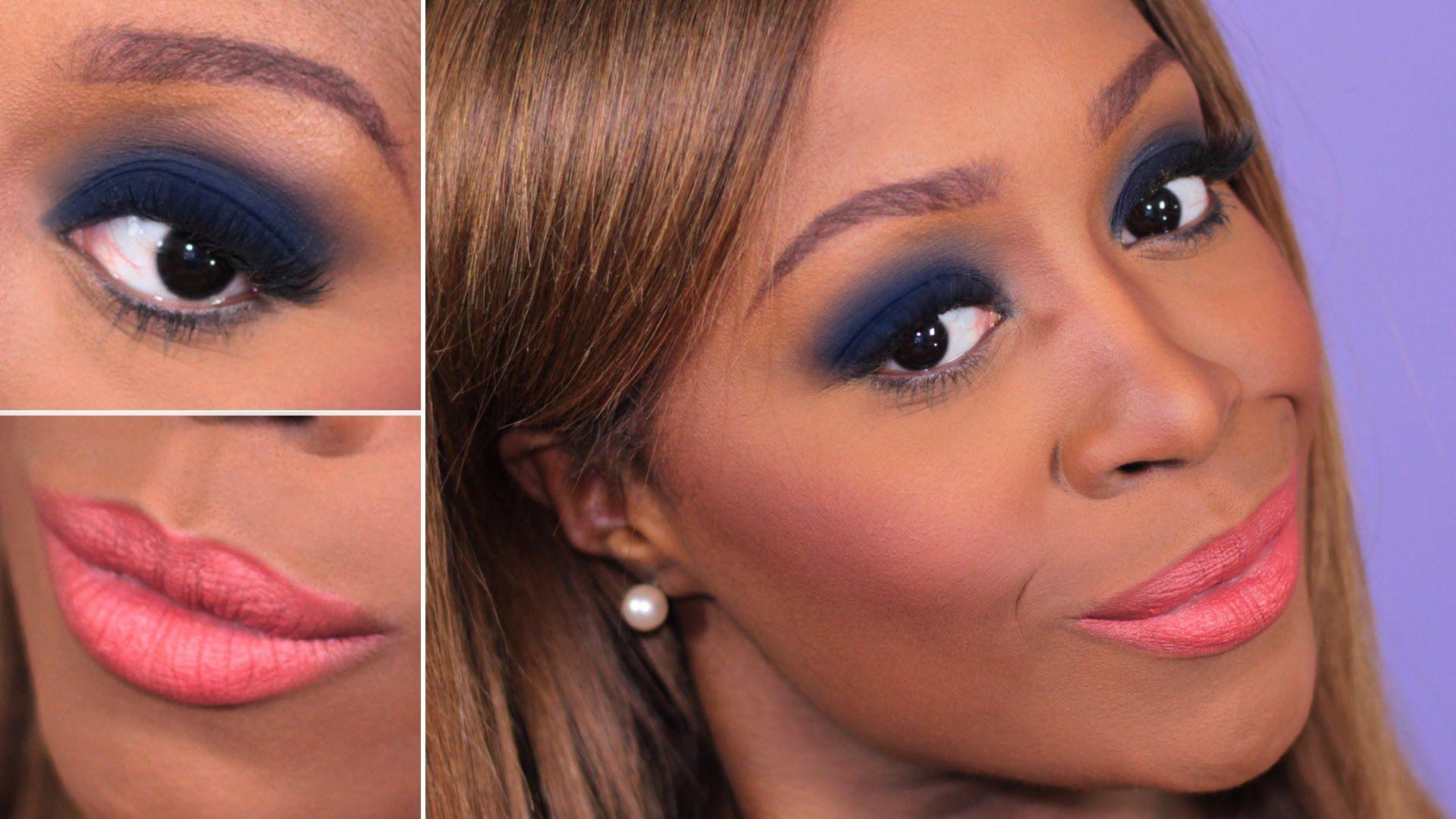 Navy Blue Smokey Eye Peach Lips Navy Blue Eyeshadow