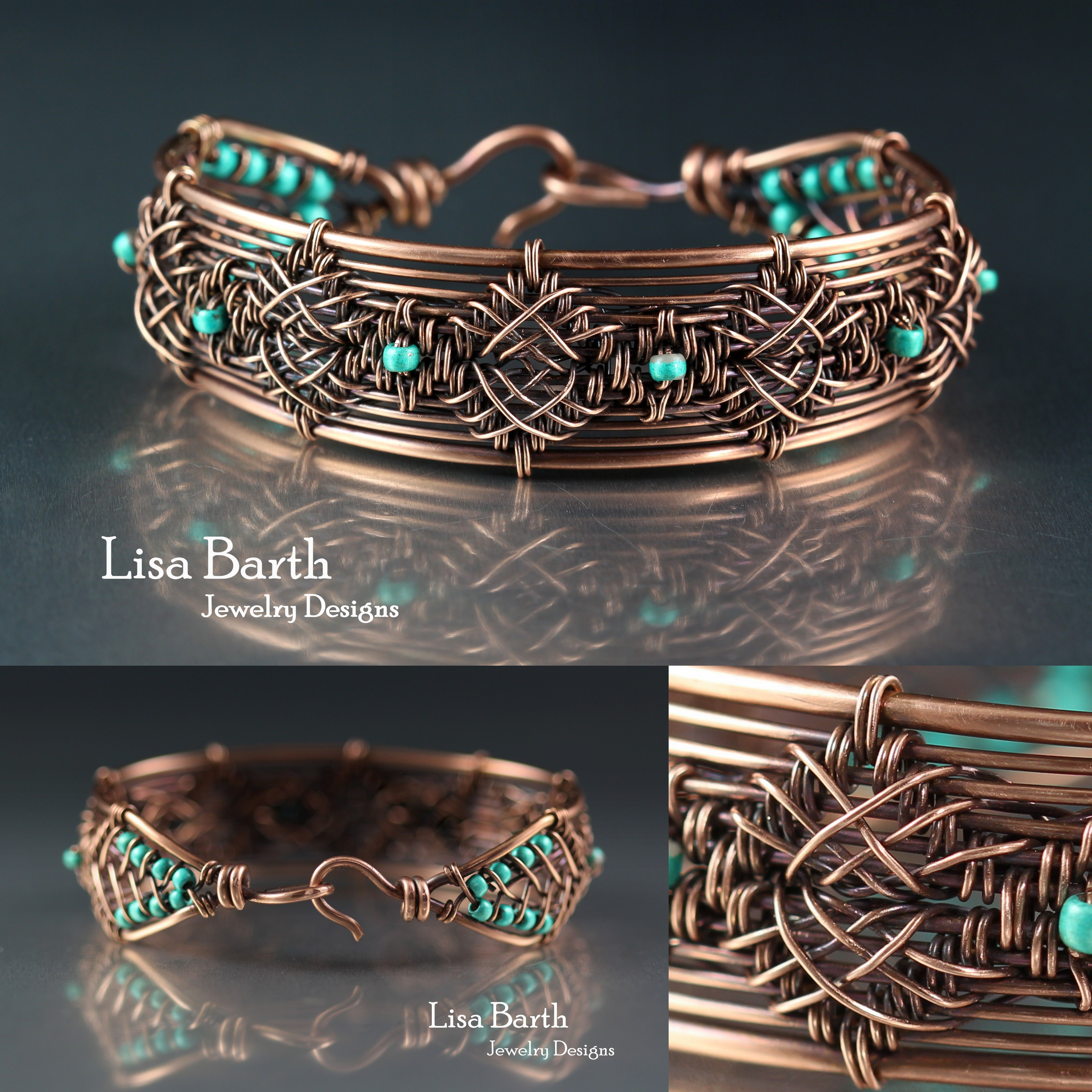 hand woven piece in solid copper wire lisa barth jewelry pinterest fil cuivre et fil de fer. Black Bedroom Furniture Sets. Home Design Ideas