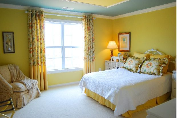 yellow bedroom designs with wall painting | Bedroom designs and ...