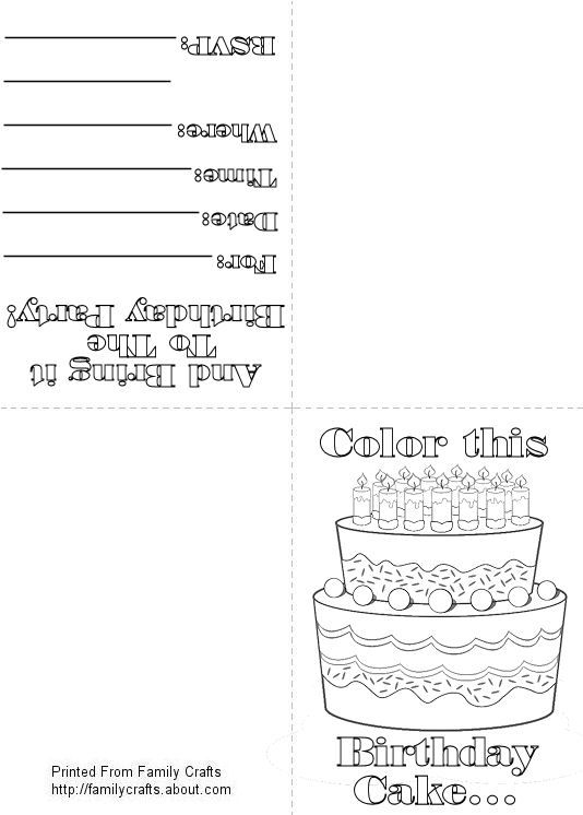 Birthday Party Coloring Invitation | Places to Visit | Pinterest