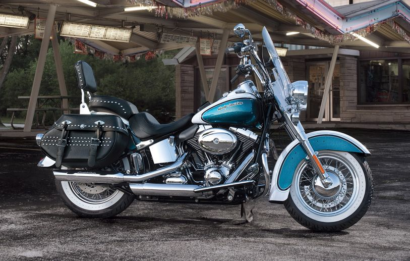 H-D1™ Inspiration Gallery | Motorcycle Photos | Harley-Davidson USA Retro blue and white Deluxe with white wall tires, saddle bags, windshield and two up seat.