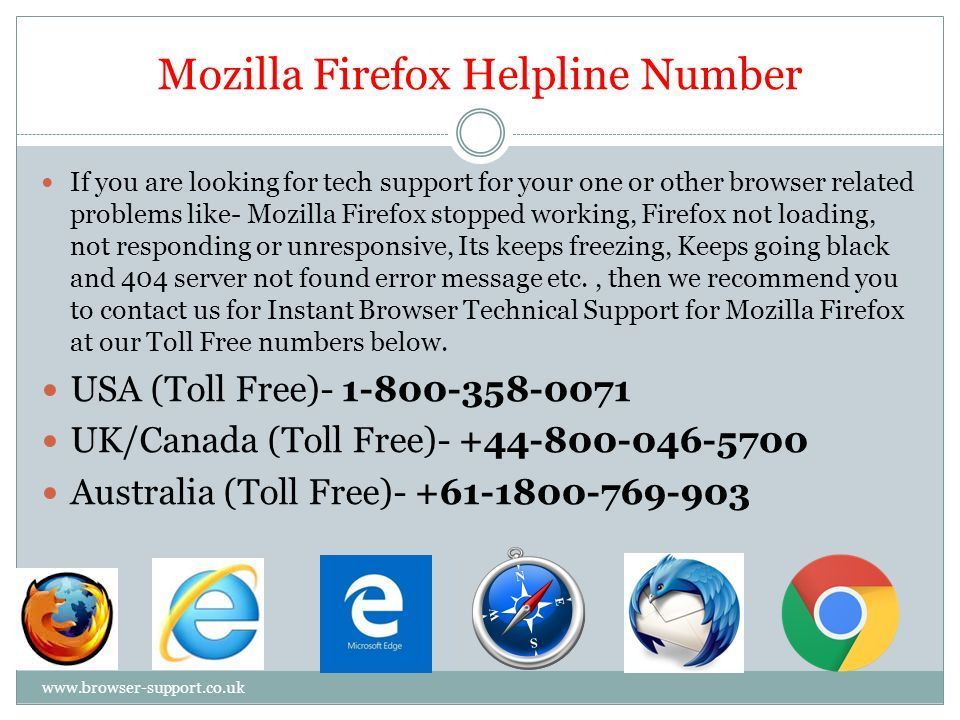 Dial our Mozilla Firefox Browser Support Number 1-800-358-0071 (US