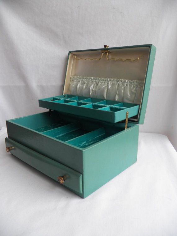 Vintage Lady Buxton Jewelry Box Chest Tiffany Powder Blue Exterior