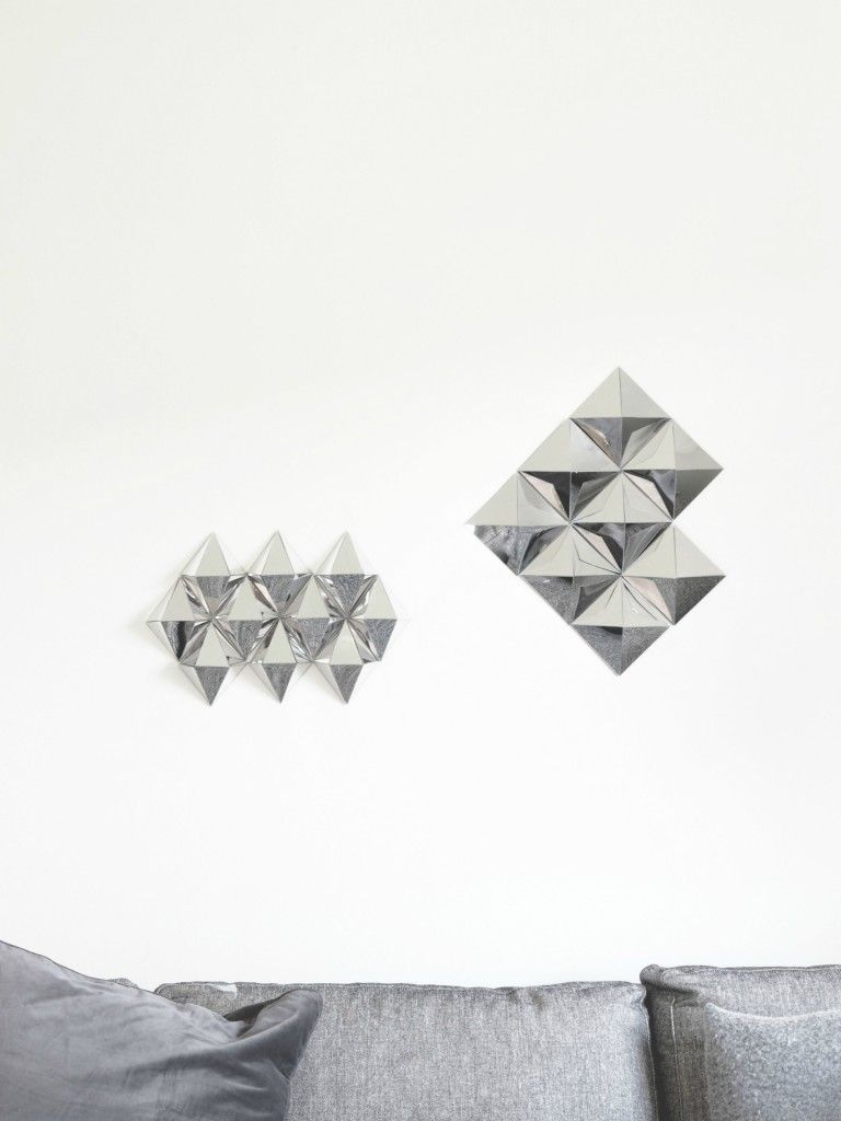 DIY 3D Mirror Wall Art - made from cardboard craft shapes and plastic (mylar) reflective film.