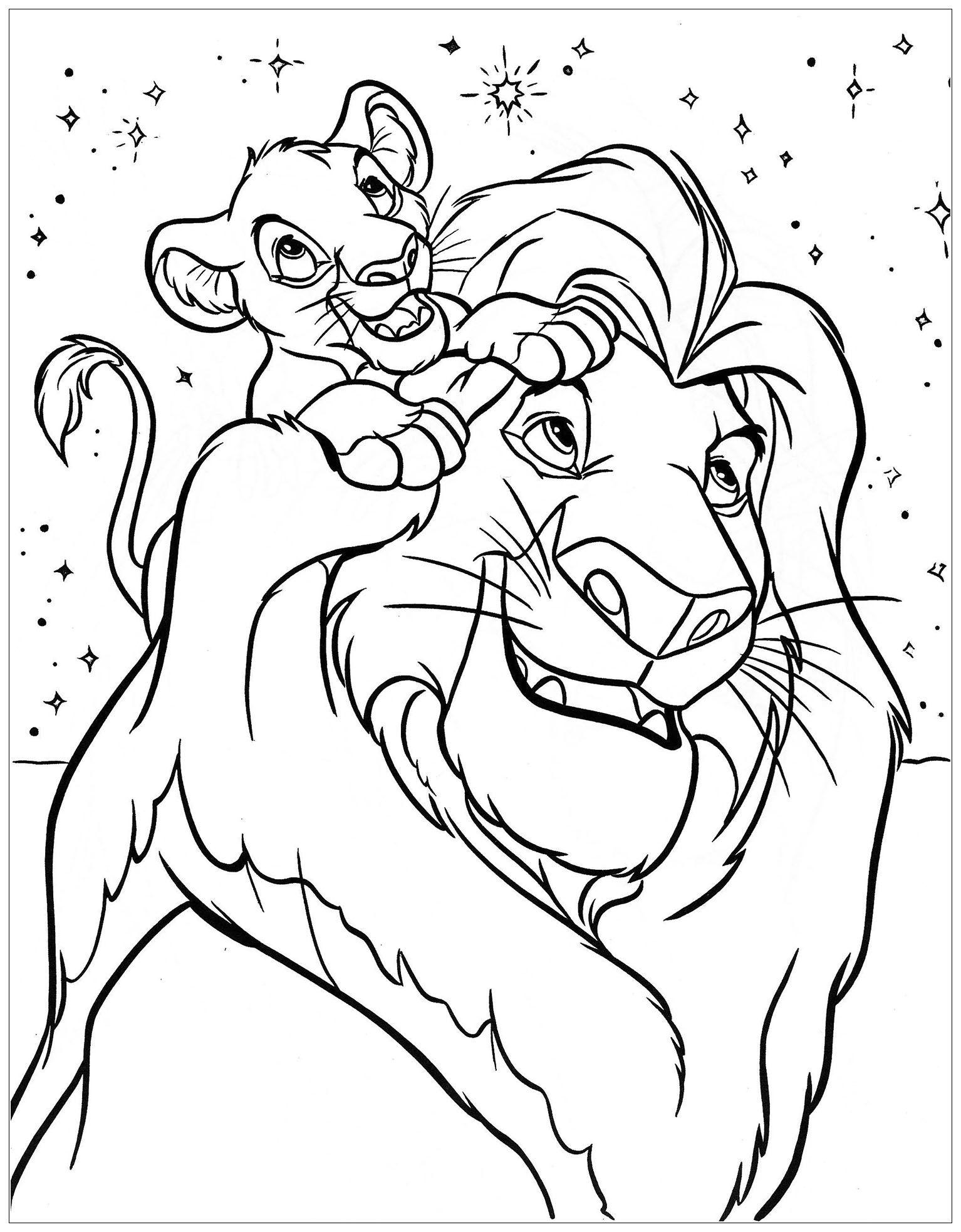 Simba et son père - Coloriage facile du Roi Lion avec Simba et son