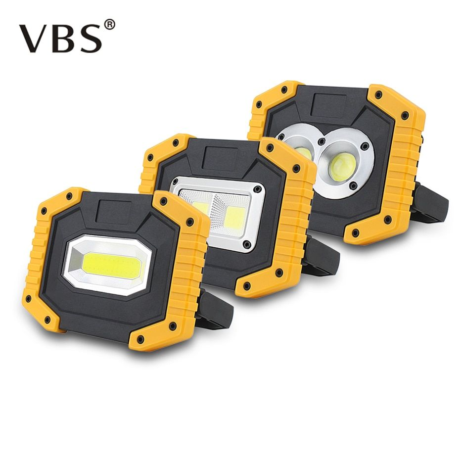 Portable 20W USB Rechargeable COB LED Flood Camping Work Lights Lamp 18650 Torch