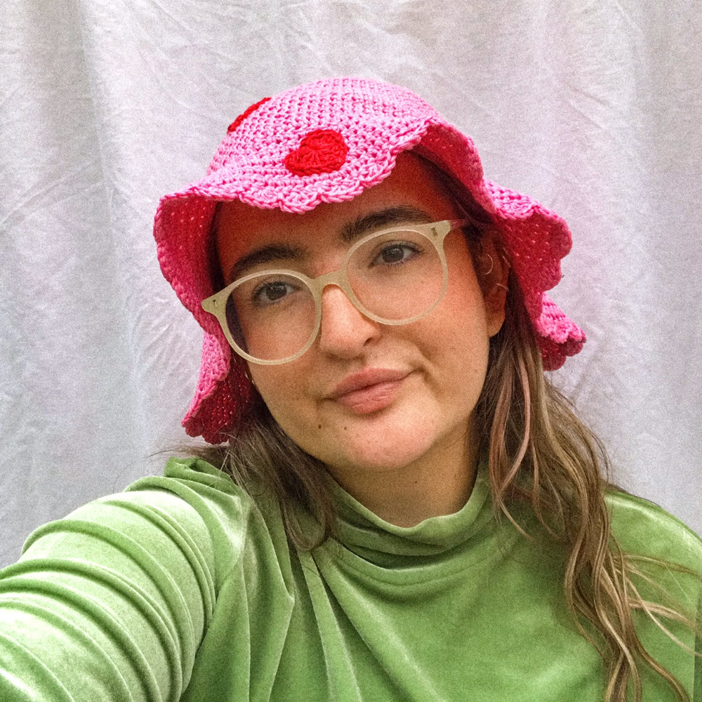 Pink Hat with Flowers 90s inspired Baby Crochet Bucket Hat