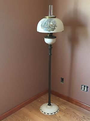 Antique Aladdin Floor Lamp With Original Currier Ives 14 Shade Oil Lamps Floor Lamp Lamp