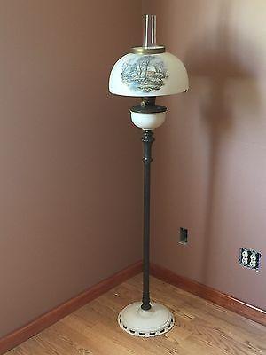 Antique aladdin floor lamp with original currier ives 14 shade antique aladdin floor lamp with original currier ives 14 shade aloadofball Image collections