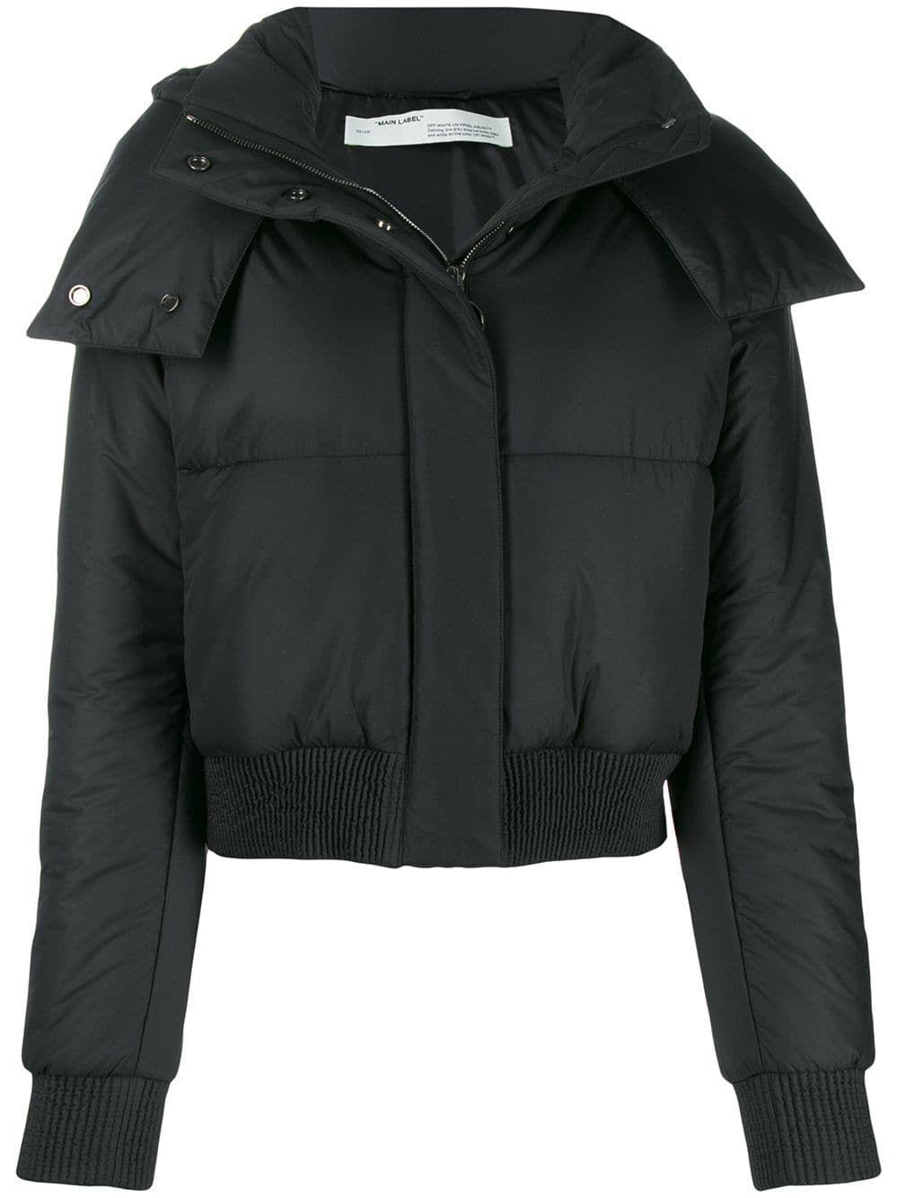 Off White Padded Logo Puffer Jacket Farfetch Black Bomber Jacket Off White Jacket White Leather Jacket [ 1334 x 1000 Pixel ]