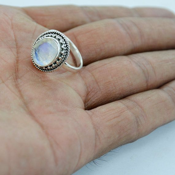 Faceted Rainbow Moonstone Gemstone Jewelry 925 by DevmuktiJewels