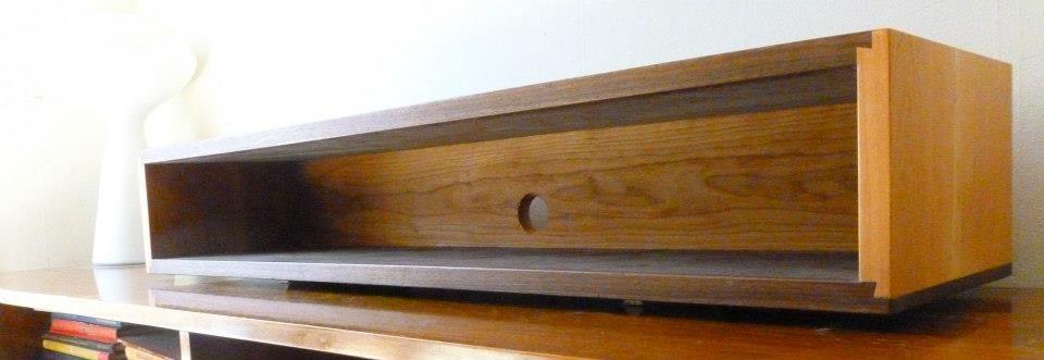 Floating Box Shelf walnut and cherry dovetail floating wall box console shelf, mid