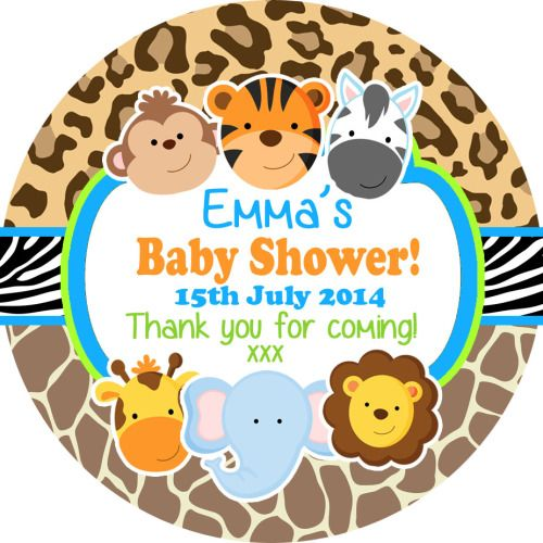Jungle friends girl baby shower party favours stickers personalised 1xa4