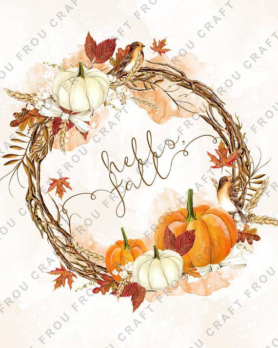 Fall Wall Art Autumn Wall Decor Pumpkin Kitchen By Froufroucraft