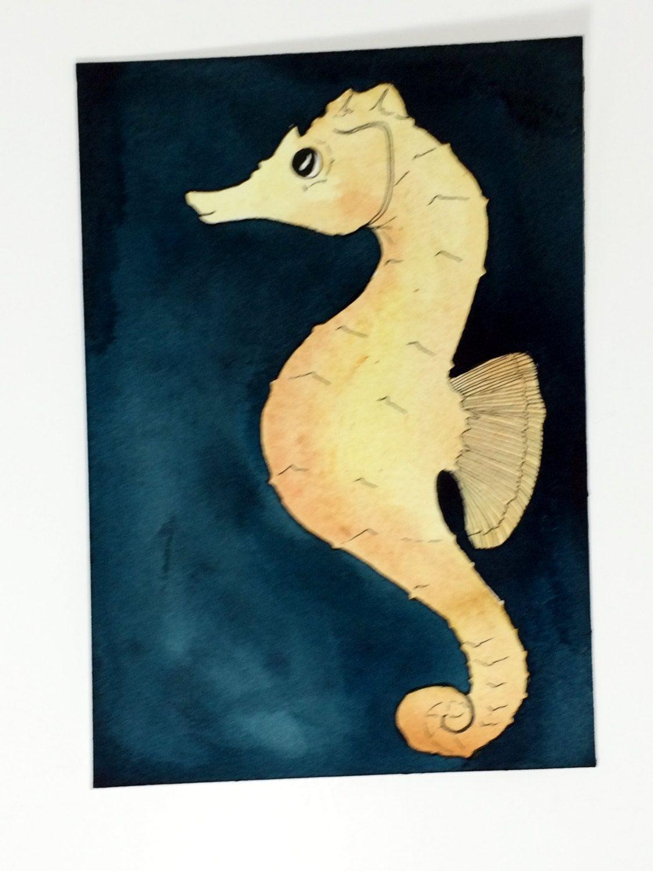 Seahorse Wall Decor, Seahorse Watercolor Art, Ocean Themed Art ...