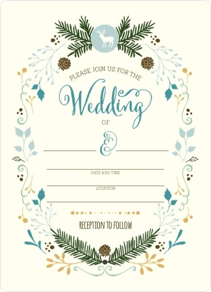 whimsical woodland foliage fill in the blank wedding invitation