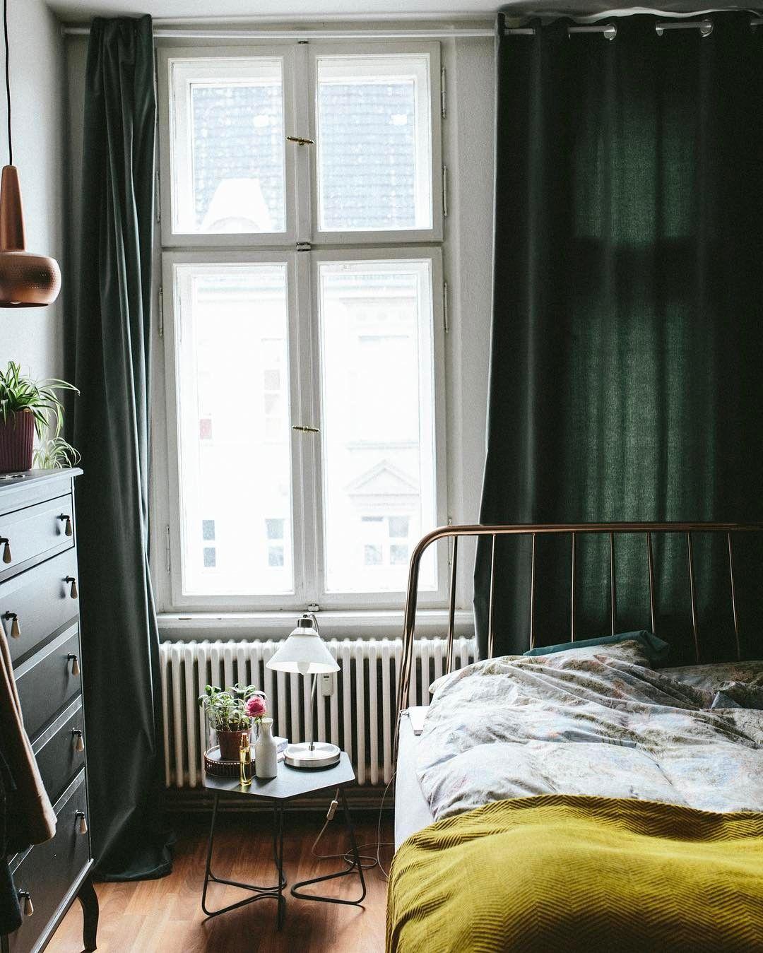 full wall drapes in dark color | Bedroom interior, Bedroom ...