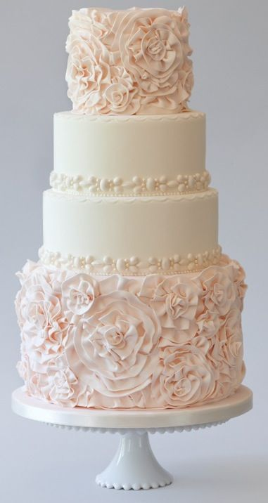 Blush Wedding Cakes for the Discriminating Bride   Cake decorating     Pink and White Wedding Cake