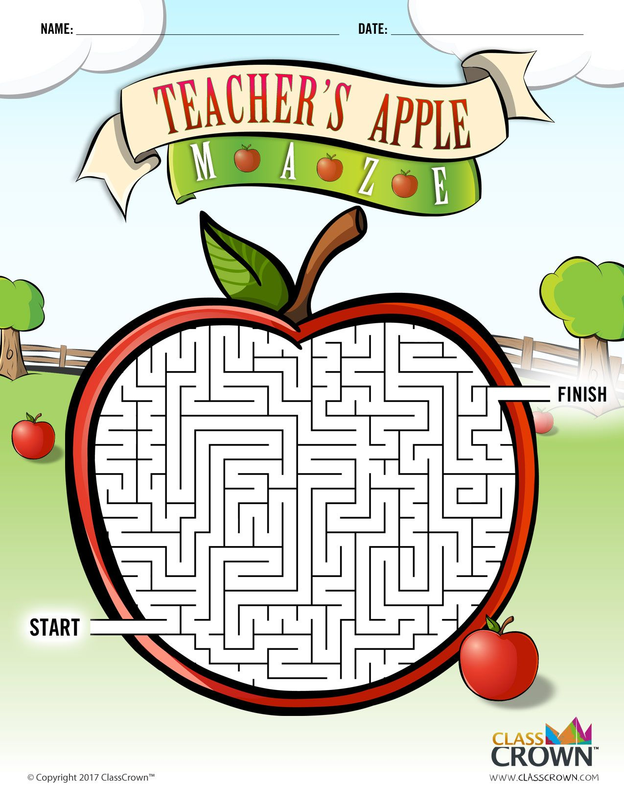 Teacher's Apple Maze - Puzzles by ClassCrown - B&W Print ...