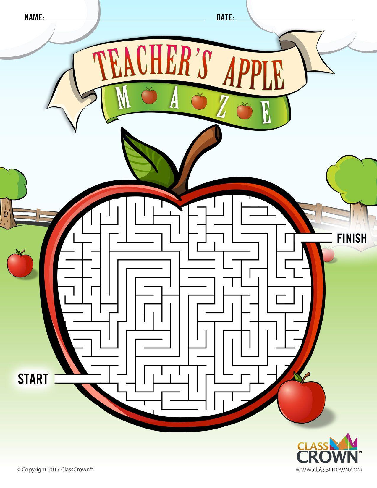 Teacher S Apple Maze Puzzles By Classcrown B Amp W Print