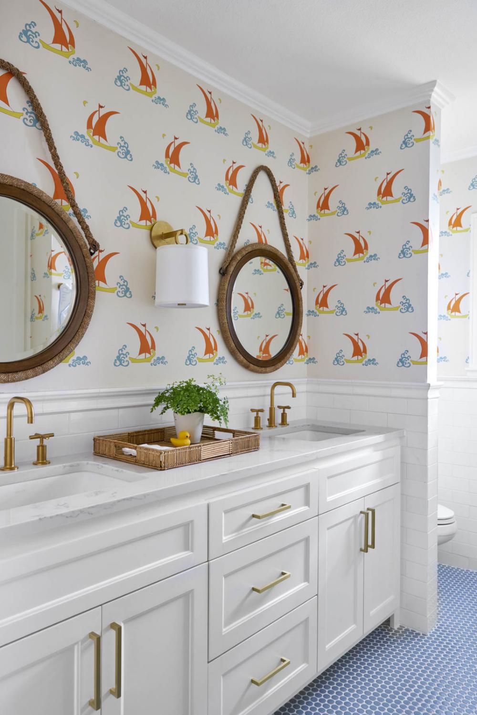 Bathroom Design Kids Bathroom Rope Mirrors Wallpaper