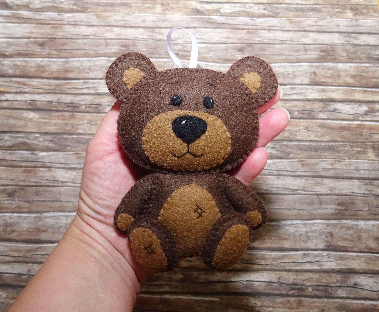 Bear Ornament Wool Felt Brown Bear Ornament Felt Bear Kidsroom Decor Nursery Baby Mobile Bear Plushie Woodland Animal Forest Animal Felt Ornaments Felt Embroidery Wool Felt