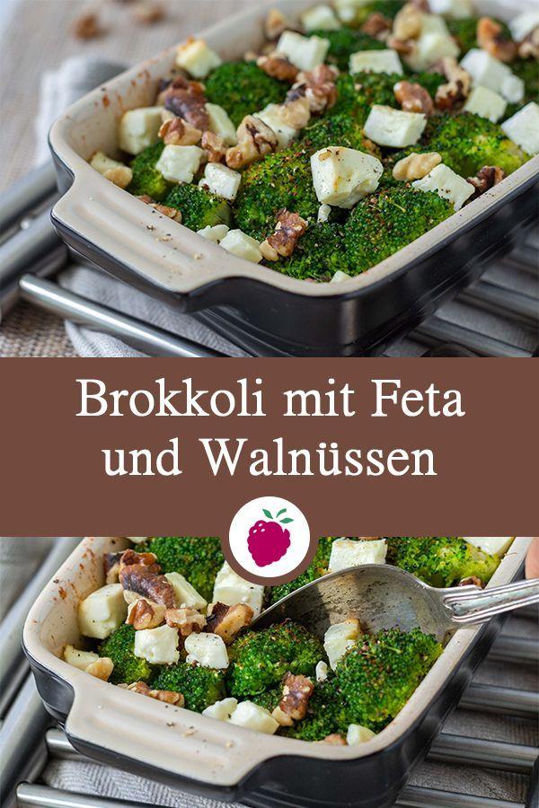 Brokkoli mit Feta und Walnüssen - gesunde Beilage zu Fisch oder Kartoffeln #vegetariandish