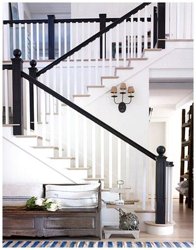 Love This Contrast California Beach House Black Railing Black | Black And White Banister | Round | Deck | Light Wood Banister | Light Grey Grey White | Wrought Iron