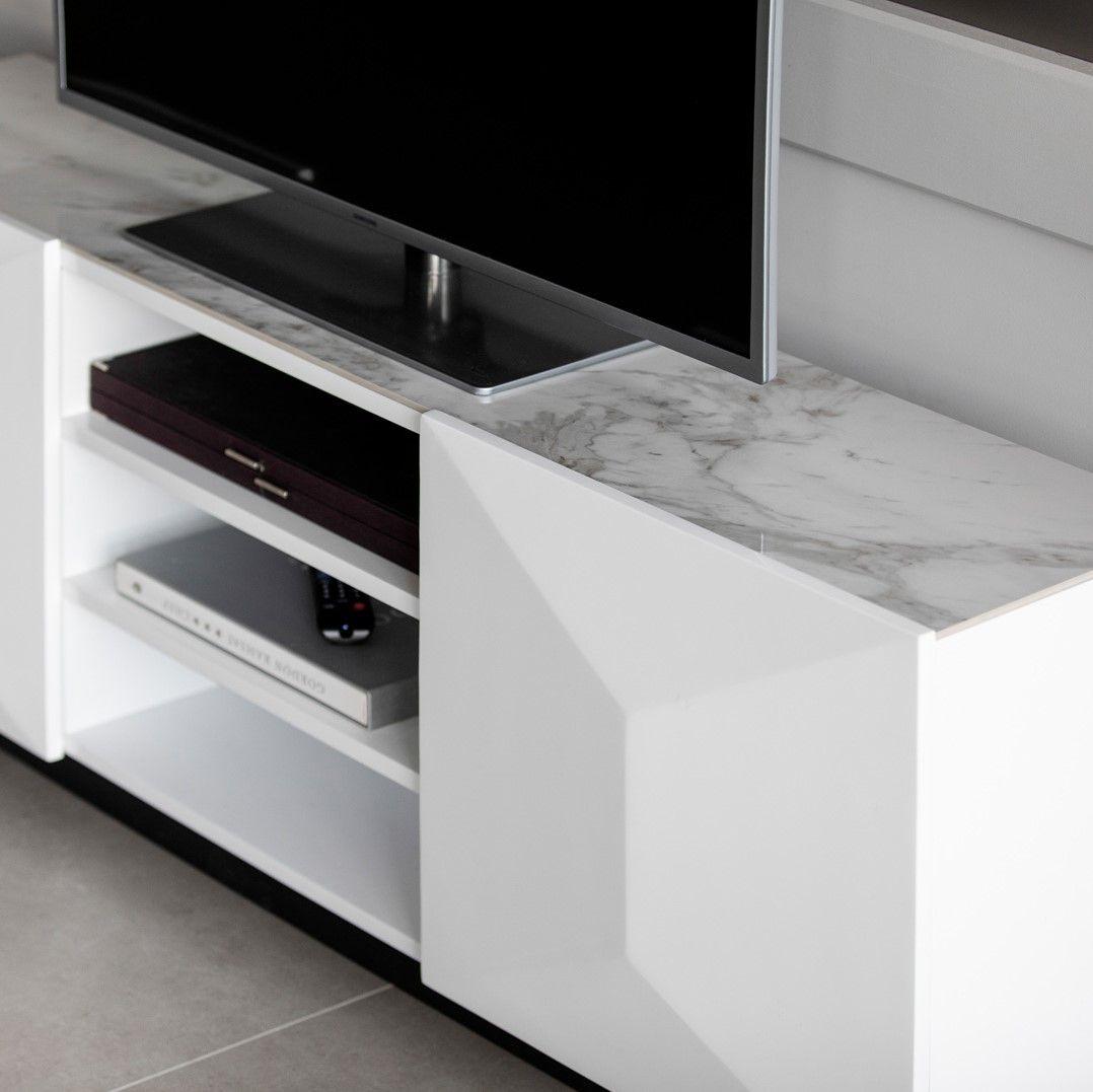 meuble tv contemporain blanc en bois