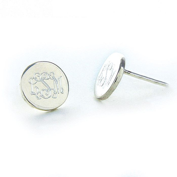 Sterling Silver Round Post Earrings Script Font I Want These They Re Gorgeous