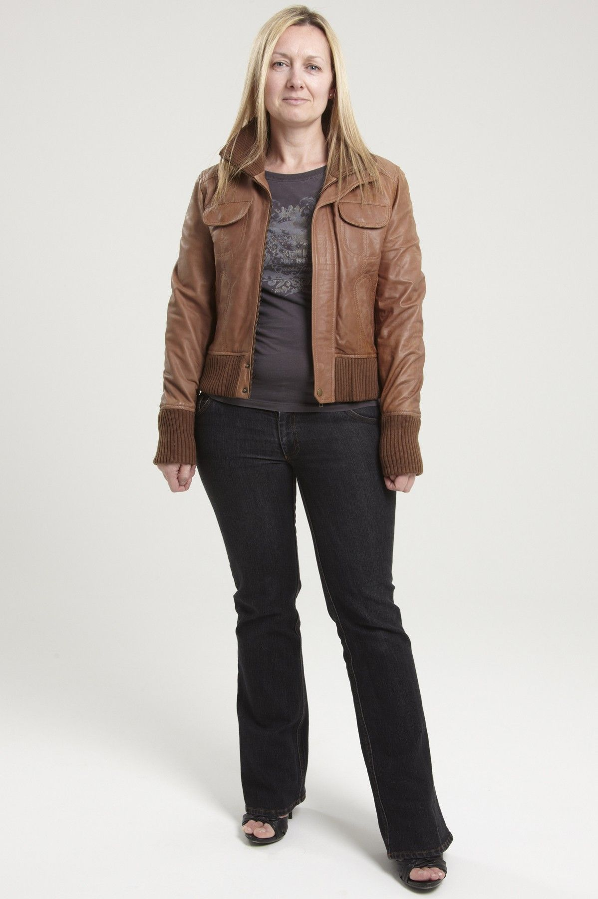 Womens Tan Brown Leather Bomber Jacket Larna | Women leather ...