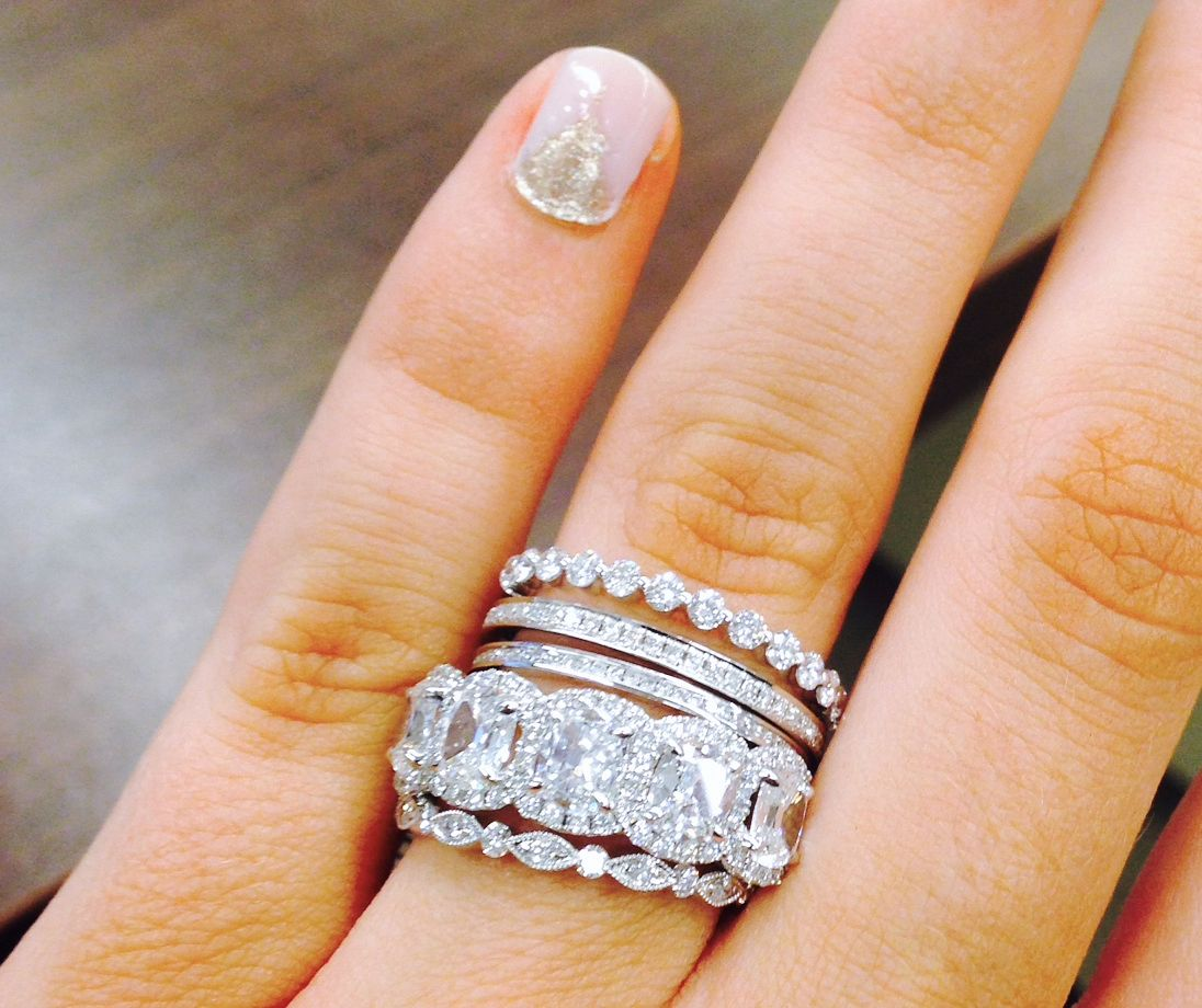 stackable wedding bands How to Wear Rings Like a Celebrity Stacked Engagement RingStacked Wedding