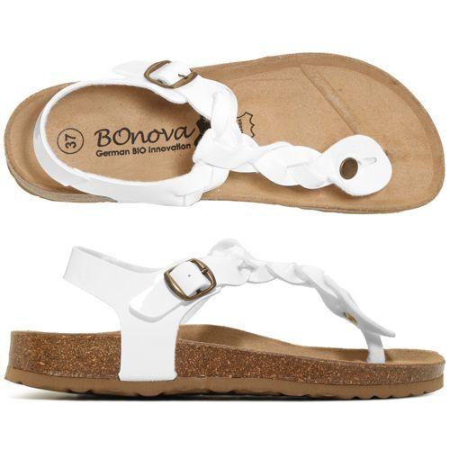 25c16ac4a Bonova Braided Sandals Varnished Flange with adjustable buckle - QVC France