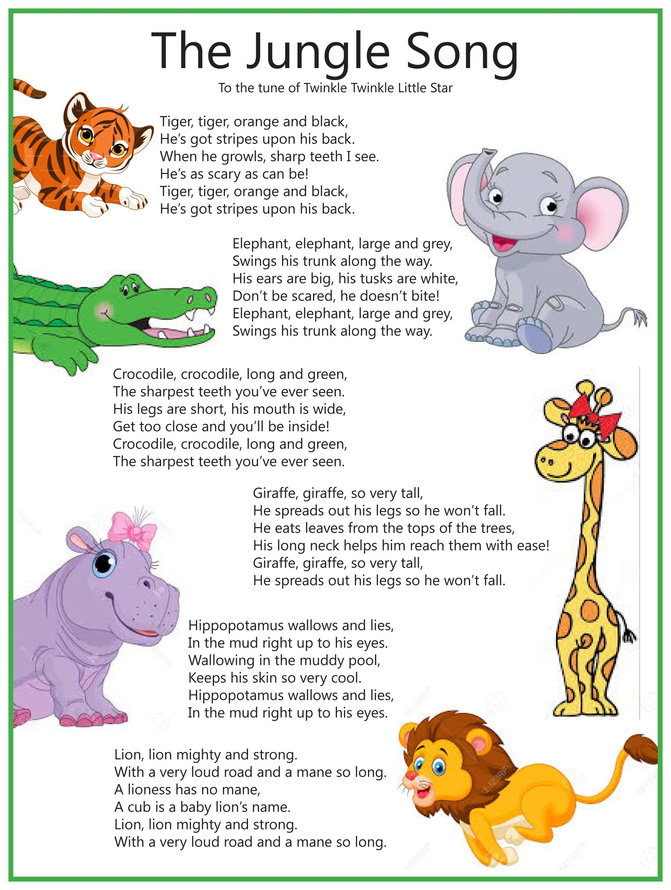 The Jungle Song - sung to Twinkle Twinkle Little Star | Cards ...